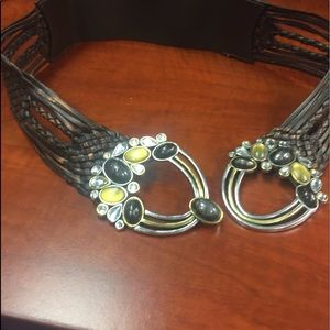 Accessories - Embellished leather belt with elastic in center